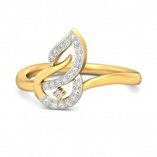 Womens Diamond Rings Natural Round Certified Diamond 0.24 Ct Solid Gold  Workwear