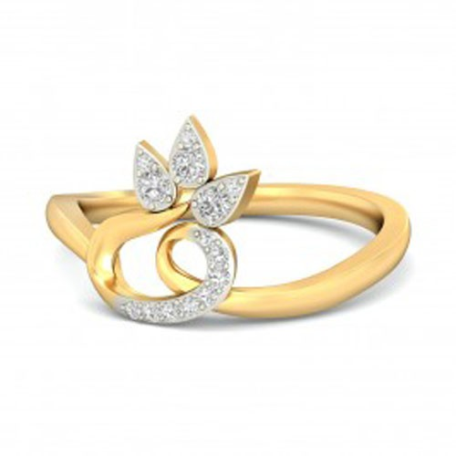 Gold With Diamond Ring Natural Round Certified Diamond 0.16 Ct Everyday