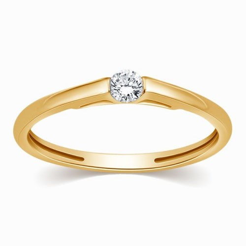 Gold With Diamond Ring Natural Round Certified Diamond 0.1 Ct Party