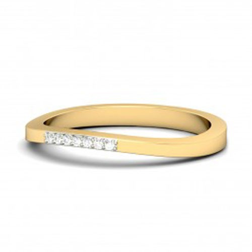 Gold Diamond Rings Natural Round Certified Diamond 0.1 Ct Festive