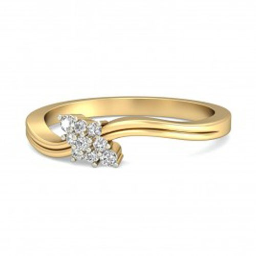Diamond Ladies Ring Natural Round Certified Diamond 0.18 Ct Solid Gold  Party