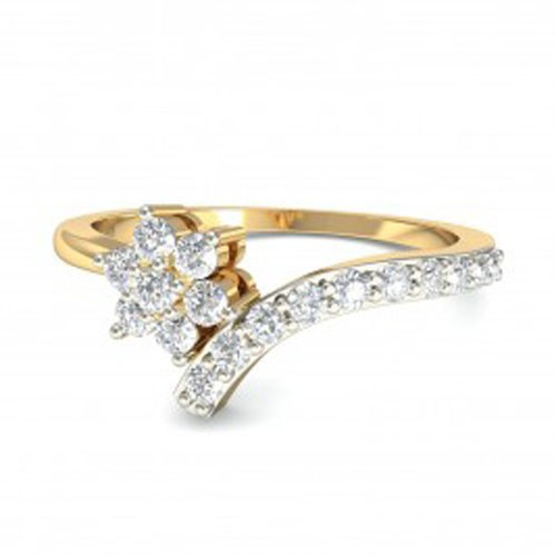 Womens Diamond Rings Natural Round Certified Diamond 0.16 Ct Solid Gold  Office Wear