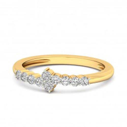 Gold With Diamond Ring Natural Round Certified Diamond 0.15 Ct Festive