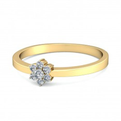 Gold Diamond Rings Natural Round Certified Diamond 0.14 Ct Everyday