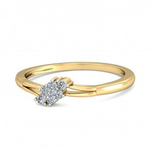 Gold With Diamond Ring Natural Round Certified Diamond 0.16 Ct Weekend