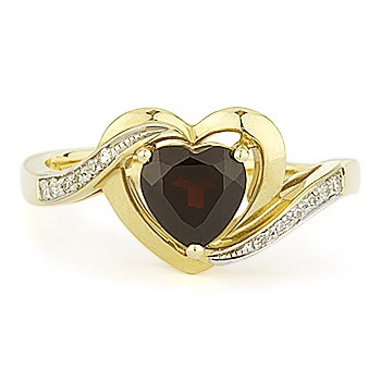 0.24 Ct Natural Diamond Garnet 14K Solid Yellow Gold Heart Ring