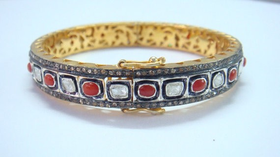 Antique Bracelets 8.2 Ct Natural Certified Diamond 2.1 Ct Coral 925 Sterling Silver Anniversary