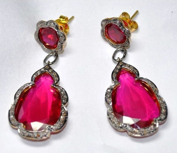 Rose Cut Earrings 2.3 Ct Natural Certified Diamond 12 Ct Ruby 925 Sterling Silver Vacation
