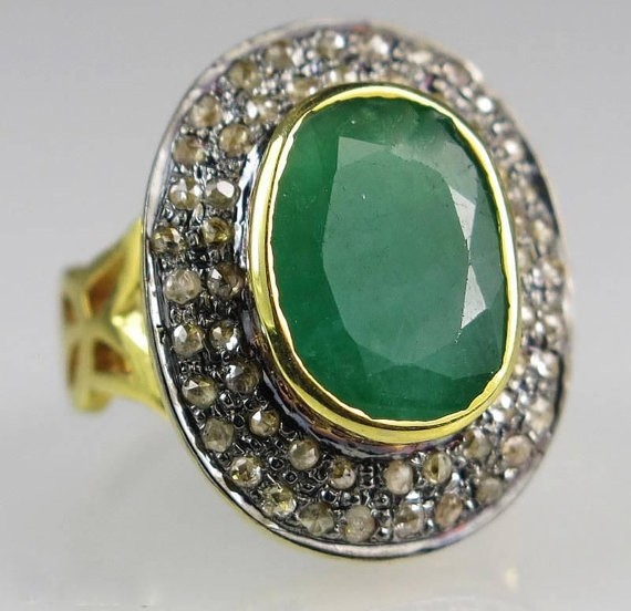 Vintage Diamond Engagement Rings 1.5 Ct Natural Certified Diamond 2.5 Ct Emerald 925 Sterling Silver Everyday