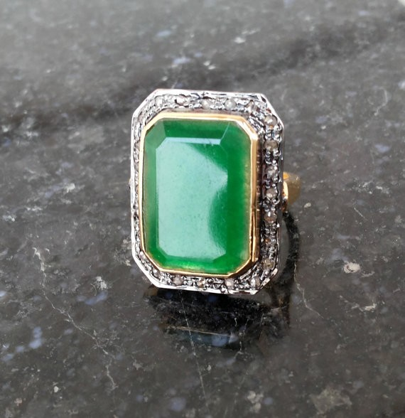 Vintage Art Deco Rings 0.85 Ct Natural Certified Diamond 2 Ct Emerald 925 Sterling Silver Workwear