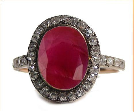 Antique Looking Wedding Rings 0.8 Ct Natural Certified Diamond 2.1 Ct Ruby 925 Sterling Silver Everyday