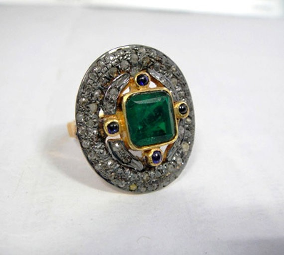 Vintage Inspired Wedding Rings 1.88 Ct Natural Certified Diamond 1.5 Ct Emerald Blue Sapphire 925 Sterling Silver Special Occasion