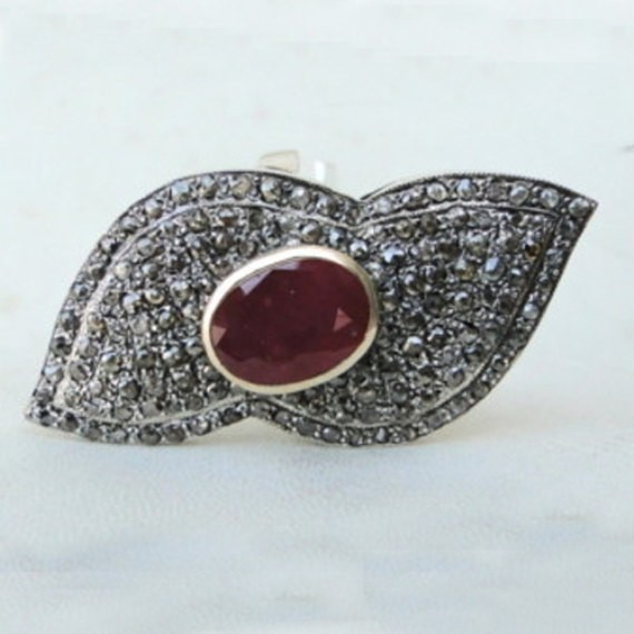 Polki Rings 1.93 Ct Natural Certified Diamond 1 Ct Ruby 925 Sterling Silver Anniversary
