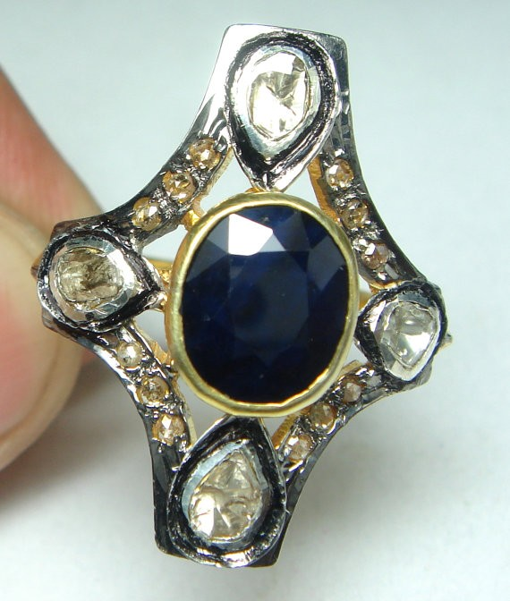 Antique Diamond Engagement Rings 0.76 Ct Natural Certified Diamond 1.2 Ct Blue Sapphire 925 Sterling Silver Office Wear