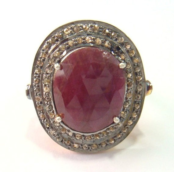 Victorian Diamond Ring 2.32 Ct Natural Certified Diamond 2.3 Ct Ruby 925 Sterling Silver Wedding