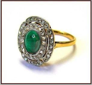 Antique Looking Wedding Rings 1.00 Ct Rose Cut Natural Certified Diamond 1.00 Ct Emerald 925 Sterling Silver Everyday