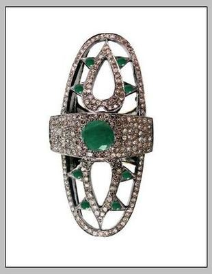 Vintage Inspired Wedding Rings 1.4 Ct Natural Certified Diamond 0.8 Ct Emerald 925 Sterling Silver Special Occasion