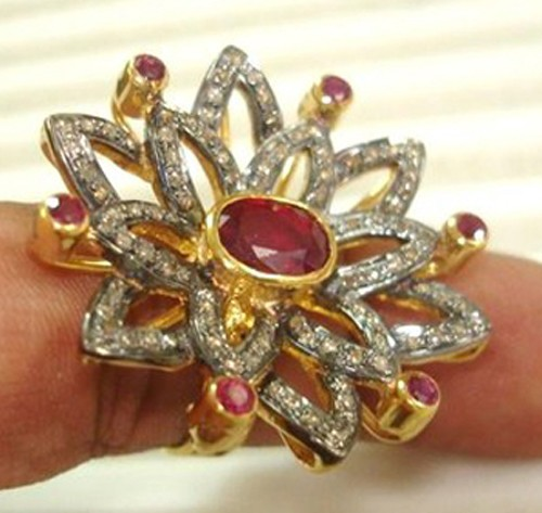 Vintage Art Deco Rings 1.7 Ct Natural Certified Diamond 1.3 Ct Ruby 925 Sterling Silver Workwear