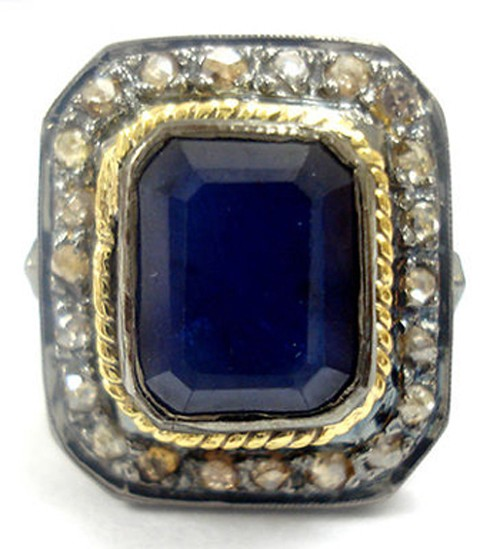 Vintage Engagement Rings For Sale 0.5 Ct Natural Certified Diamond 2.5 Ct Blue Sapphire 925 Sterling Silver Everyday