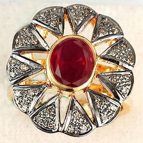 Vintage Victorian Engagement Rings 1.5 Ct Natural Certified Diamond 1.6 Ct Ruby 925 Sterling Silver Party