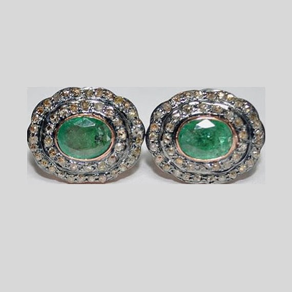 Antique Drop Earrings 1.75 Ct Natural Certified Diamond 2 Ct Emerald 925 Sterling Silver Workwear