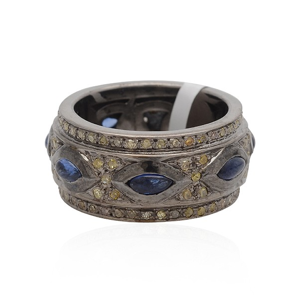 Victorian Wedding Rings 1.65 Ct Natural Certified Diamond 1.8 Ct Blue Sapphire 925 Sterling Silver Vacation