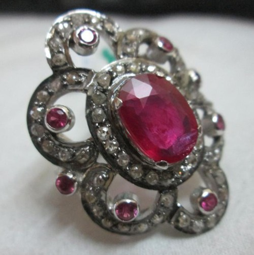 Vintage Diamond Wedding Rings 1.4 Ct Natural Certified Diamond 2 Ct Ruby 925 Sterling Silver Party