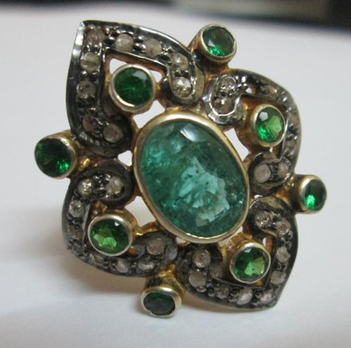 Vintage Engagement Rings For Sale 1.02 Ct Natural Certified Diamond 1.6 Ct Emerald 925 Sterling Silver Everyday