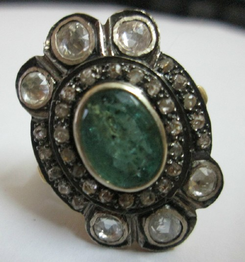 Victorian Style Rings 1.35 Ct Natural Certified Diamond 1 Ct Emerald 925 Sterling Silver Special Occasion