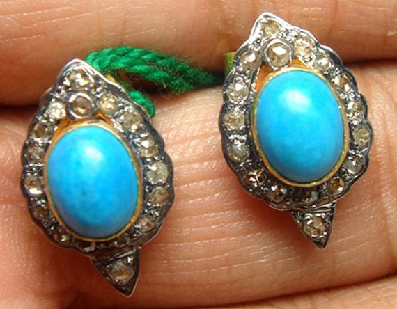 Uncut Earrings 1.3 Ct Natural Certified Diamond 3 Ct Turquoise 925 Sterling Silver Office Wear