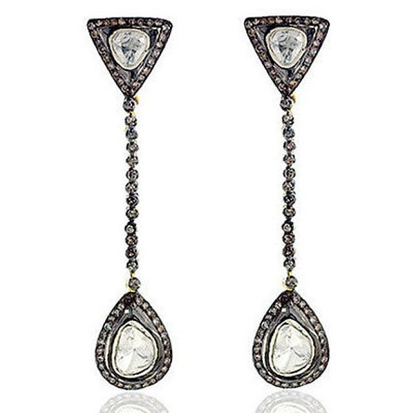 Victorian Earrings 2.92 Ct Natural Certified Diamond 925 Sterling Silver Special Occasion