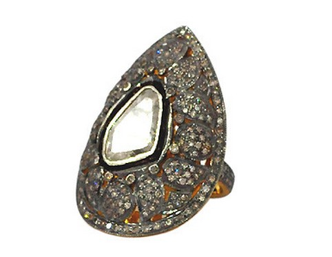 Vintage Art Deco Rings 2.35 Ct Natural Certified Diamond 925 Sterling Silver Workwear