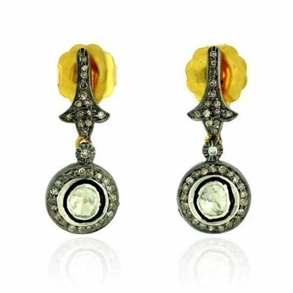 Vintage Drop Earrings 3.35 Ct Natural Certified Diamond 925 Sterling Silver Festive