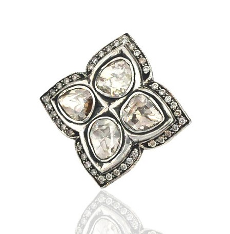 Victorian Rings 1.4 Ct Natural Certified Diamond 925 Sterling Silver Festive