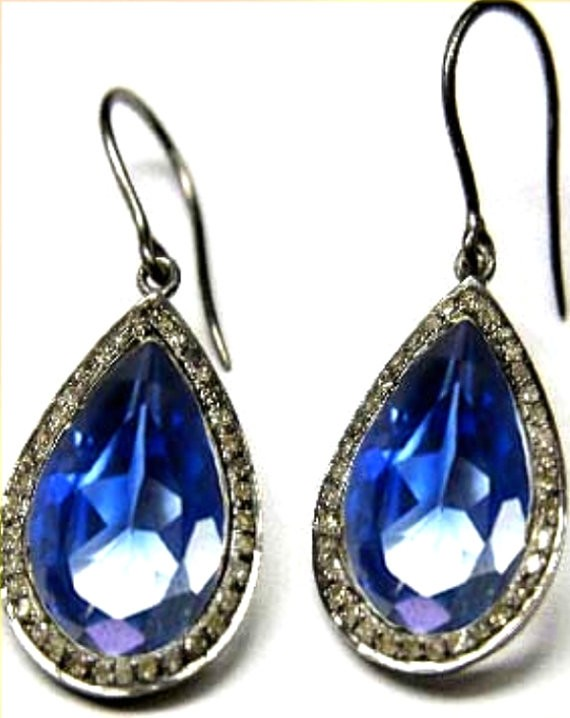 Victorian Diamond Earrings 1.95 Ct Natural Certified Diamond 10 Ct Sapphire 925 Sterling Silver Workwear