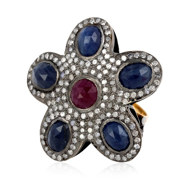 Victorian Antique Engagement Rings 2.2 Ct Natural Certified Diamond 3 Ct Ruby Blue Sapphire 925 Sterling Silver Weekend