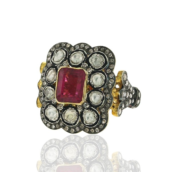 Antique Style Engagement Rings 1.96 Ct Natural Certified Diamond 1 Ct Ruby 925 Sterling Silver Party