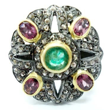 Victorian Rings For Sale 2 Ct Natural Certified Diamond 1.8 Ct Emerald Ruby 925 Sterling Silver Wedding