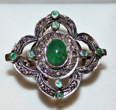 Vintage Victorian Engagement Rings 1.35 Ct Natural Certified Diamond 1.15 Ct Emerald 925 Sterling Silver Party
