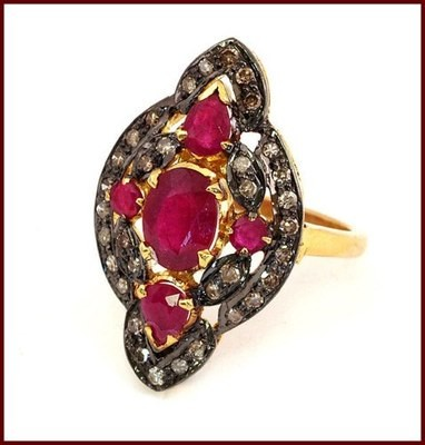 Antique Looking Wedding Rings 1.12 Ct Natural Certified Diamond 1.5 Ct Ruby 925 Sterling Silver Everyday