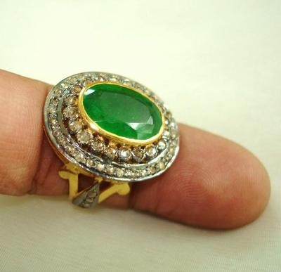 Victorian Style Wedding Rings 1.35 Ct Natural Certified Diamond 2.3 Ct Emerald 925 Sterling Silver Anniversary