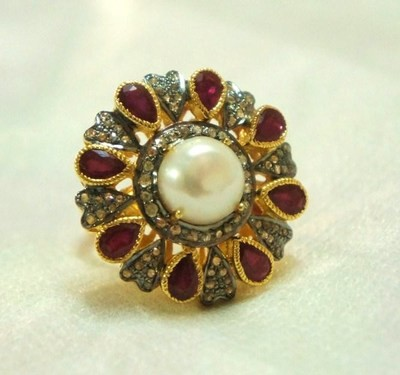 Vintage Style Diamond Rings 1.05 Ct Natural Certified Diamond 3.4 Ct Ruby Pearl 925 Sterling Silver Engagement