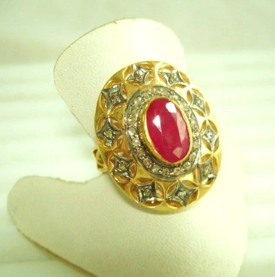 Antique Diamond Wedding Rings 1 Ct Natural Certified Diamond 1.8 Ct Ruby 925 Sterling Silver Vacation