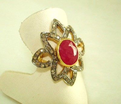 Antique Looking Engagement Rings 1.2 Ct Natural Certified Diamond 2 Ct Ruby 925 Sterling Silver Office Wear