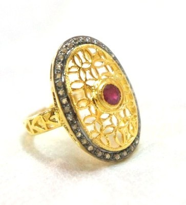 Antique Style Rings 1.11 Ct Natural Certified Diamond 0.15 Ct Ruby 925 Sterling Silver Festive