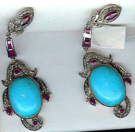 Art Deco Earrings 1.5 Ct Natural Certified Diamond 8 Ct Turquoise Ruby 925 Sterling Silver Party