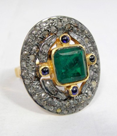 Victorian Rings For Sale 1.68 Ct Natural Certified Diamond 2.1 Ct Emerald Sapphire 925 Sterling Silver Wedding