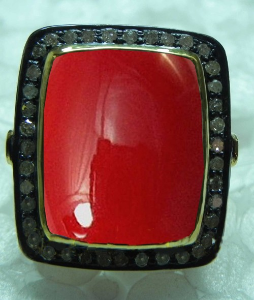 Vintage Inspired Wedding Rings 1 Ct Natural Certified Diamond 3.5 Ct Coral 925 Sterling Silver Special Occasion