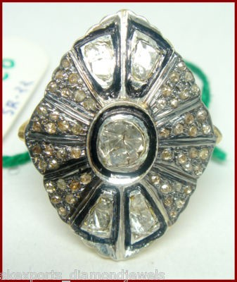 Victorian Rings 1.62 Ct Natural Certified Diamond 925 Sterling Silver Festive