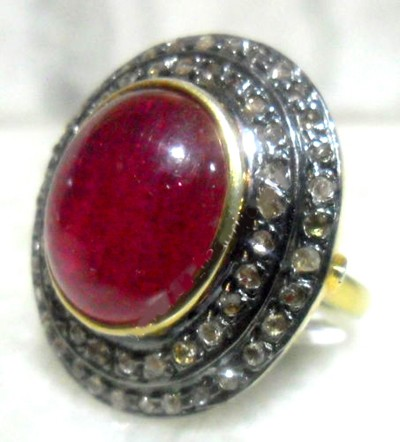 Vintage Wedding Ring 1.4 Ct Natural Certified Diamond 2.8 Ct Ruby 925 Sterling Silver Workwear